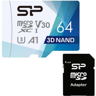 Silicon Power Superior Pro UHS-I U3 Class 10 100MBps microSDXC 64GB with SD Adapter