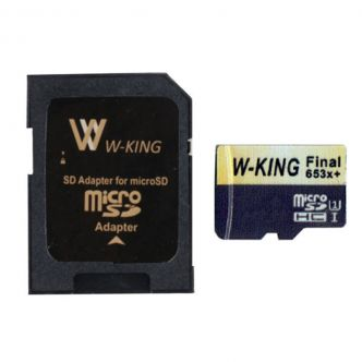 W King microSDHC Memory Card Model F3 653xPlus Class 10 Standard UHS-I U1 Speed 98MBs Capacity 8 GB with SD Adapter