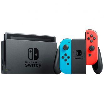 Nintendo Switch With Neon Blue and Neon Red Joy Con Station